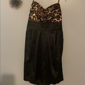 Strapless, animal print dress, size 18w